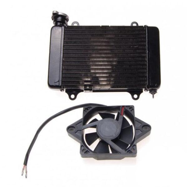 ATV dzesēšanas šķidruma radiators ar ventilatoru