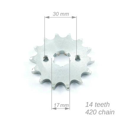 Priekšējais zobrats ATV 420 ķēdei ar 14 zobiem