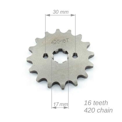 Priekšējais zobrats ATV 420 ķēdei ar 16 zobiem